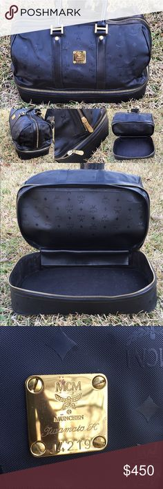 """MCM Black Tavel Boston Duffle Bag Authentic MCM Germany Boston Black Travel Bag with Shoe Compartment. Condition 9/10 Very Miniscule Signs of Wear  Measurments L 21"""" W 11"""" H 13"""". AUTHENTICITY GUARANTEED MCM Bags Travel Bags"""