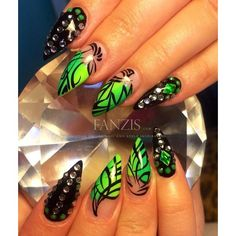 (21) neon green nails in our nailgallery at www.fanzis.com by Nails by... ❤ liked on Polyvore featuring beauty products and nail care