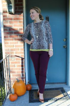 purple slacks, green tank, leopard print sweater, colorful work outfit, pumps, business casual, layering for work