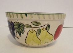 EXQUISITE 6 1/8 X 3 3/8 CERAMIC Cereal Soup Bowl Fruit Grapes Pears Apples