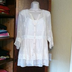 Boho chic sheer with lace Sheer Cream-colored with embroidery and lace insets. Rhinestone buttons. Purchased at Stein-mart. Tops