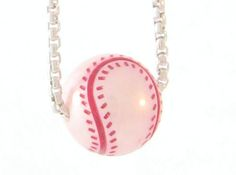 "Baseball, Girls and Pearls!!  GALATEA PEARL BASEBALL NECKLACE  $140.00 Galatea white pearl baseball necklace. 18"" Sterling silver chain.  #gordonJewelers #Baseball #Pearls #Necklace #KCRoyals #Cardinals #Missouri #Sports #Galatea"