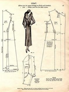 Coat pattern from: Auctiva Image Hosting Dress Making Patterns, Vintage Dress Patterns, Coat Patterns, Doll Clothes Patterns, Free Sewing, Vintage Sewing Patterns, Sewing Clothes, Clothing Patterns, Pattern Cutting