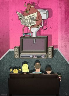 Steve Cutts: Wonder what's on the TV tonight...