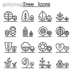 Tree & Plant icon set in thin line style