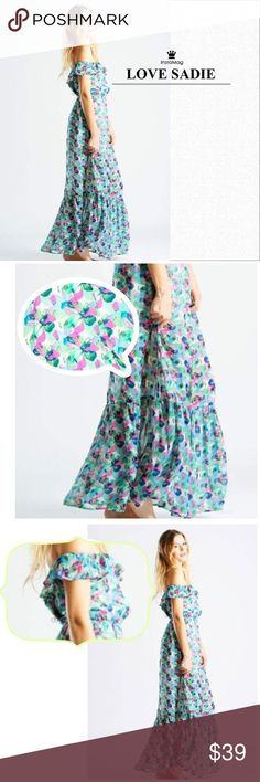 LOVE SADIE Anthropologie Floral Maxi Dress L Love Sadie brand, also sold at Anthropologie. New with tags, purchased for retail. All over floral pattern. Colors: Green, White, Pink, Blue.  Chiffon maxi Dress. Elastic band cinches waist. Ruffled straps & neck with elastic for support can be worn on or off the shoulder. Rounded neck & back. 100% Polyester Outer. 100% Rayon Lining. Top is fully lined to right above the knee. Smoke free & pet free. Anthropologie Dresses Maxi