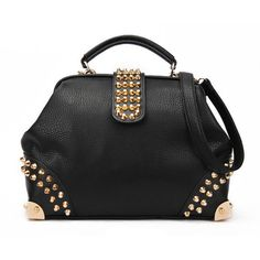 Studded Doctor Bag ❤ liked on Polyvore