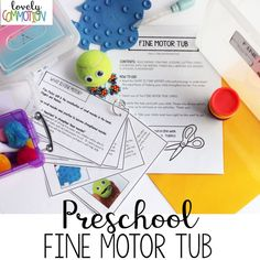 Create a Preschool Fine Motor Tub as a take-home activity - strengthening the home & school connection!