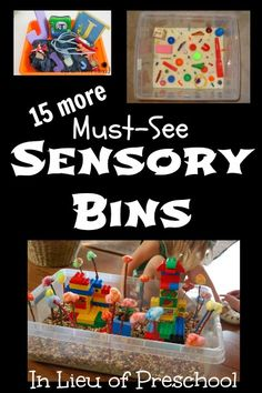 """15 More Must-See Sensory Bins...even had a great idea to do a """"Wedding I-Spy"""" container for guests....fun!"""