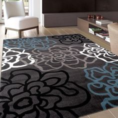 World Rug Gallery Contemporary Modern Floral Flowers Dark Gray 7 ft. 10 in. x 10 ft. 2 in. Indoor Area Rug