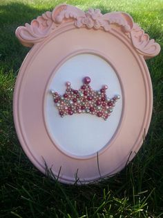 Framed Pearl Crown for Princess Nursery, Little Girl's Room, ZTA or other sorority decor!