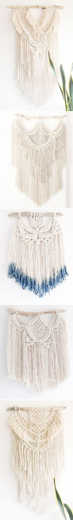 Holy macrame! Ok, my love for macrame might be dating me, but these gorgeous modernized wall hangings {does that make me sound younger?} are the beautiful, handcrafted work of California based artist