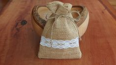 Burlap / Hessian and ivory lace mini favour bags by chicNrustic on Etsy