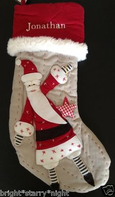Pottery Barn Kids Christmas Woodland Linen Santa Stocking Jonathan New Gift | eBay
