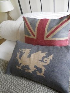 Classic British imagery in soft linen - loving both the Union Jack and the Welsh dragon