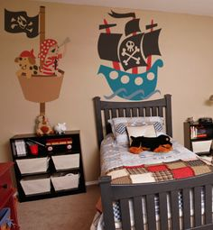 Fun pirate ship room only if the bed was shaped like a pirate ship it would be super cute! Bedroom Murals, Bedroom Themes, Kids Bedroom, Boys Pirate Bedroom, Bedroom Ideas, Pirate Kids, Murals For Kids, Boy Room, Wall Mural