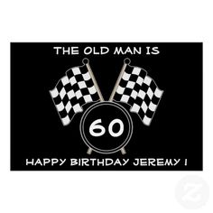 Checkered Flag Race Fan Sports Funny Birthday Poster Your friends will love this funny checkered flag surprise birthday party banner size poster. Personalize this unique celebration poster for your motorcycle or auto race fans big over the hill birthday party! This print features a background checkered flag with white text and a black background. Great for a motorcycle or auto race driver, fan, mechanic team or coach for a 20th , 30th , 40th , 50th , 60th , 70th birthday or any other age!