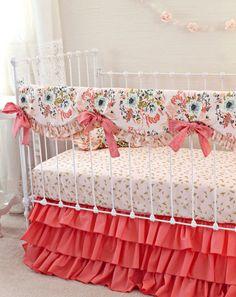 Blush Pink and Coral Crib Bedding Girl, Pink Gold Nursery Bedding, Bumperless Crib Bedding, Gold Crib Sheet, Pink Floral Baby Girl Bedding