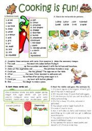 Cooking verbs esl printable worksheets and exercises school english worksheet cooking verbs kitchen utensils and seasonings key included forumfinder Image collections