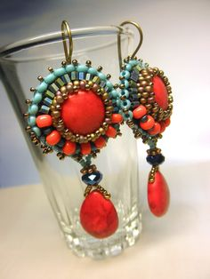 EGYPTIAN Red Coral Turquoise Crystal Seed Beads by dharajewelry