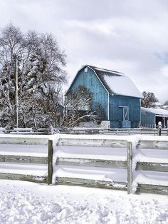 blue barn in the snow