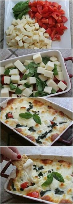 Hot Caprese Dip...YUM!!!...Chop 10 oz of: fresh mozzarella, 3 sm roma tomatoes (seeded/juiced),and 3 tbsp fresh basil and mix well. Bake at 375 degrees for 15-20 min. Broil for 2 min until cheese bubbly and golden.