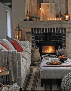 Living Room Ideas Cozy How To Make.Cozy Living Room Designs With Fireplaces Defined By Sunken . Cozy Living Room Designs With Fireplaces Defined By Sunken . Home and Family Cottage Living Rooms, Cottage Interiors, My Living Room, Home And Living, Cozy Living Room Warm, Autumn Decor Living Room, Apartment Living, Cozy Apartment, Rustic Living Rooms