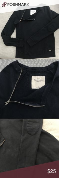 Abercrombie and Fitch Sweatshirt Sz Medium Navy blue sweatshirt with zipper detail at neck and elbow patch detail, worn once, like new! Abercrombie & Fitch Tops Sweatshirts & Hoodies