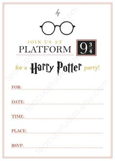 PRINTABLE Harry Potter Invitation - PDF. $10.00, via Etsy.