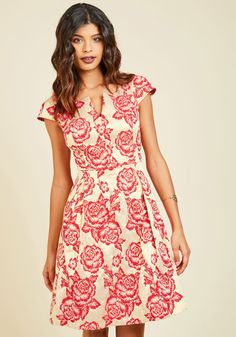 Start your night off beautifully by flaunting this ModCloth-exclusive dress. From your entrance - made lovelier by the notched neckline, cap sleeves, and pleated skirt of this pocketed A-line - to an exit adorned by its gold-and-red rose print, this fabulous frock guarantees a gorgeous evening.