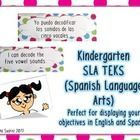 These  SLA (Spanish language arts) TEKS cards are in English and Spanish.  They are perfect for walkthroughs, for your objective wall and/or for an...