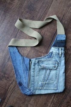Small BOY CHANEL Handbag - Pink - Calfskin & Gold-Tone Metal - Default view - see standard sized version Jean Crafts, Denim Crafts, Denim Purse, Linen Bag, Old Jeans, Boho Fashion, Upcycle, Boho Style, Crossbody Bag