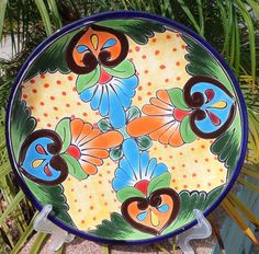 """Talavera Mexican Pottery Lunch Dinner Plate 10"""" Hand Made Gold Yellow Italy CD 