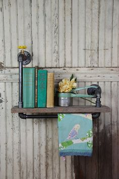 Handmade Barn Board and Pipe Wall Shelf & Towel Bar by sugarSCOUT, $129.00