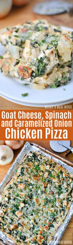 Goat Cheese, Spinach and Caramelized Onion Chicken Pizza http://www ...