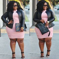 It's all about mixing feminine blush tones with a touch of faux leather for the ultimate sweet but edgy look! Thick Girl Fashion, Plus Size Fashion For Women, Curvy Women Fashion, Look Fashion, Fashion Beauty, Curvy Girl Outfits, Style Outfits, Plus Size Outfits, Cute Outfits