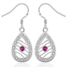 Picture of Fashion Earrings Women Trendy Drop Silver Plated Zircon