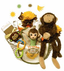 Monkeying Around Baby Gift Basket -      The new parents are going to go banana's for sure over this adorable monkey themed baby basket! Our Monkeying Around Baby Gift Basket is filled with high quality baby products the new mom will love to receive. $114.95
