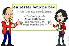 L'expression du jour :   « en rester bouche bée » [ɑ̃ ʀɛste buʃ be]   #learnfrench #FLE #french