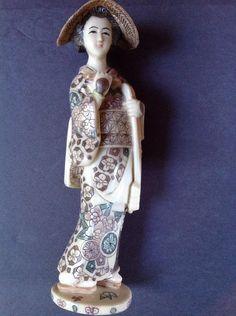 "Asian Resin Figurine Statue Ornate Hand Painted Geisha 7.5"" Faux Scrimshaw"