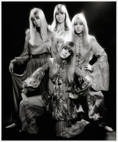 Beatles Wives and Girlfriends, 1967 Pattie Boyd, Cynthia Lennon, Maureen Starkey, and Jenny Boyd photographed by Ronald Traeger, 1967
