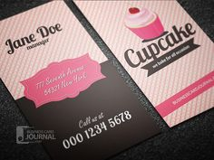 Modern PSD free cupcake business card template designed in retro style by Businesscardjournal.