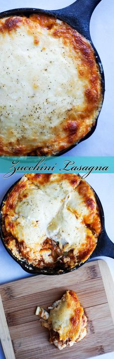 Keto lasagna made with thin sliced zucchini and loaded with meat and cheese!