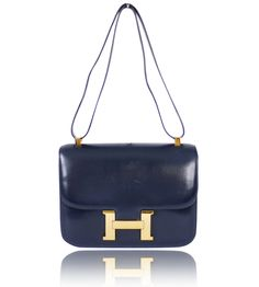 Hermes Navy Box Calf Constance 23 Flap Bag Rare Vintage 1977 - Garo Luxury - Authentic Luxury Goods