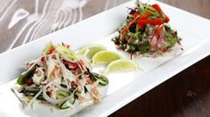 Crab and lime salad and Thai beef salad