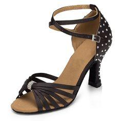 TDA Women's Crystal Bow Ankle Strap Black Satin Latin Ballroom Dance Shoes Wedding Sandals 6 M US