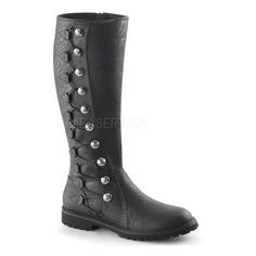 Funtasma Gotham 109 Black Mat Low Heel Military Victorian Style Knee... ❤ liked on Polyvore featuring shoes, boots, vegan knee high boots, victorian boots, black knee boots, funtasma boots and knee high boots