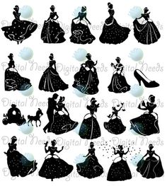 25 Cinderella Silhouettes  / 25 png and SOURCE by DigitalNeeds