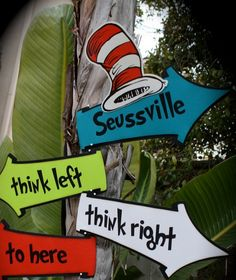 10  DR. SEUSS Cat in the Hat...Whimsical directional SIGNS