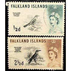 Falkland Islands, QE II, Birds, set of 2 stamps, 1960 used fine